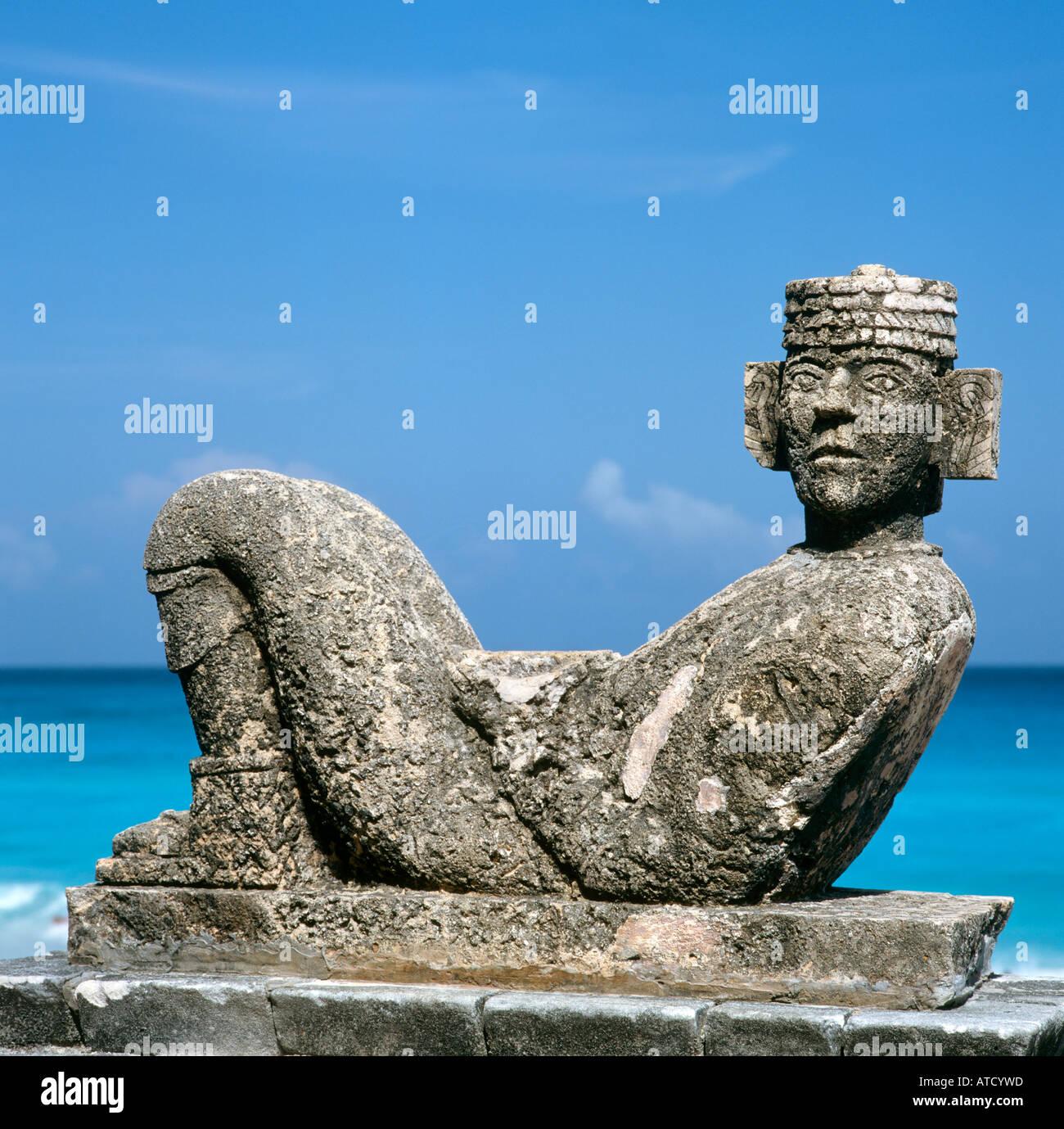 Chac Mool Statue, Cancun Beach, Quintana Roo, Yucatan Peninsula, Mexico - Stock Image