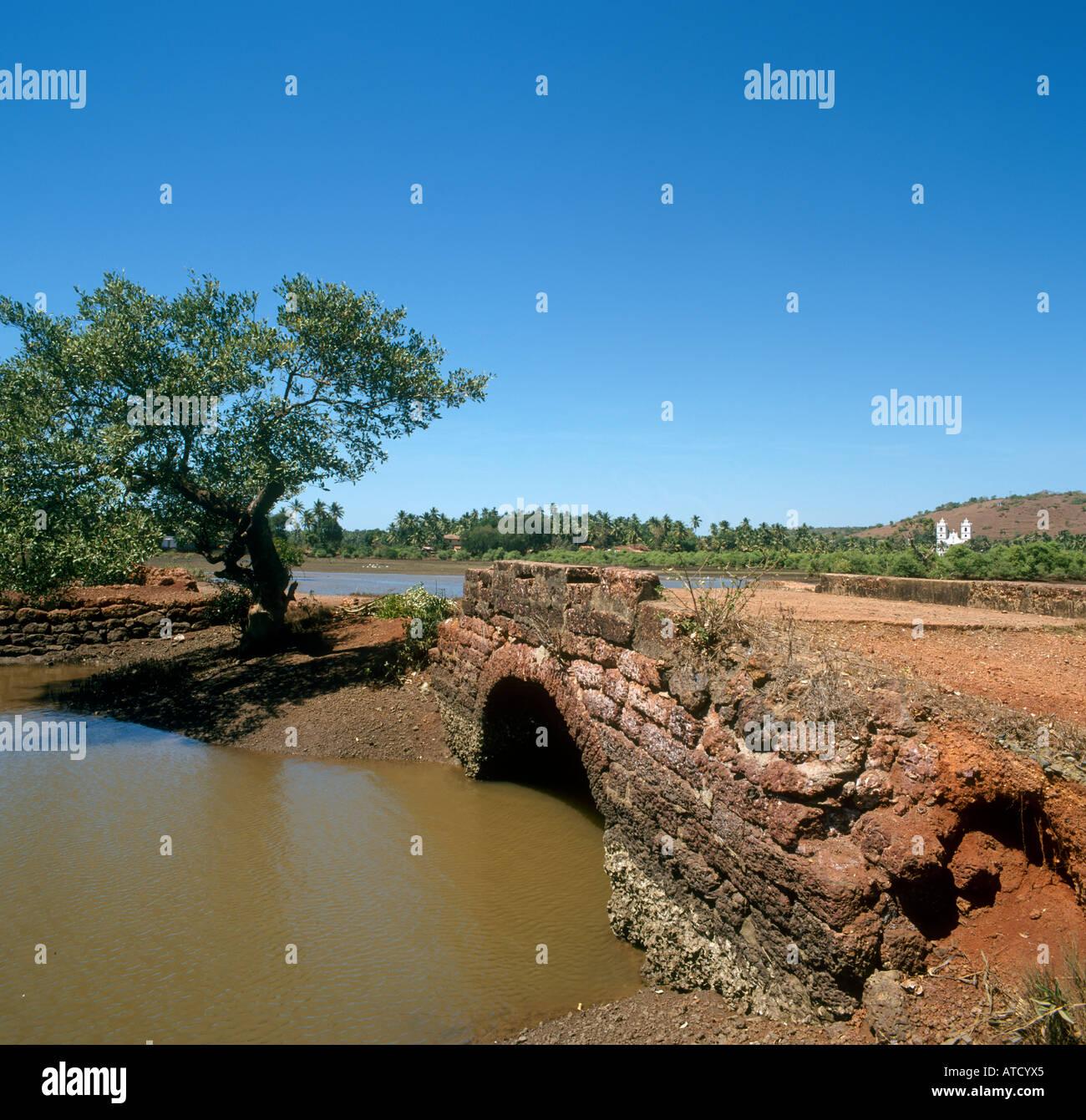 Old Stone Bridge, Goa, India - Stock Image