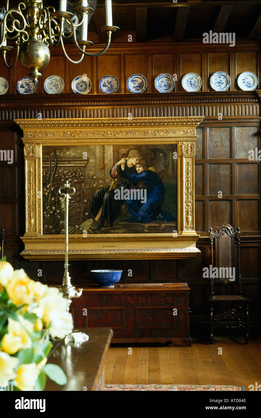 "Wightwick Manor, Wolverhampton, West Midlands, 1887-1893. ""Love among the ruins"" by Edward Burne-Jones in the Great Parlour. - Stock Image"