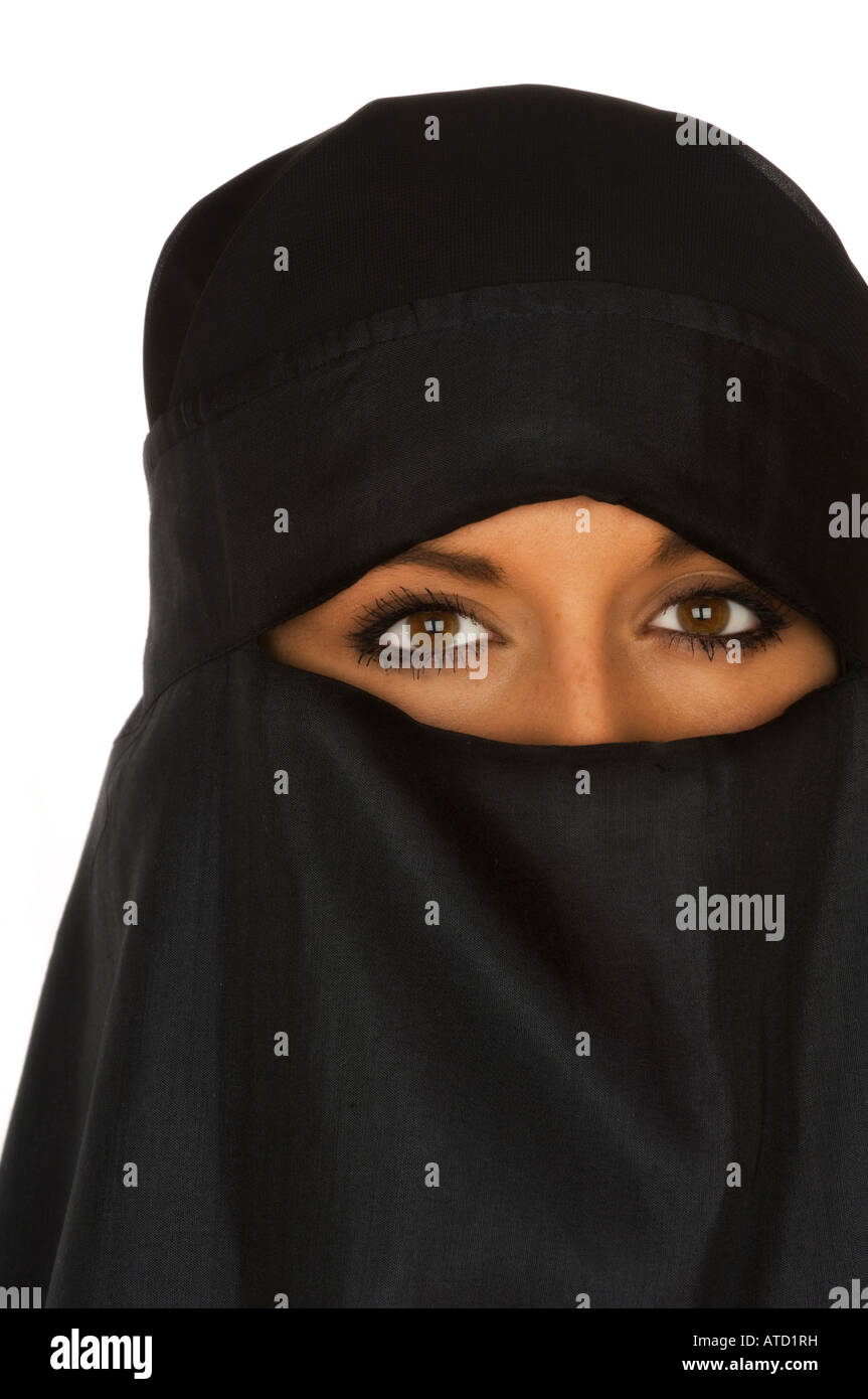 Beautiful Middle eastern woman in a niqab veil - Stock Image