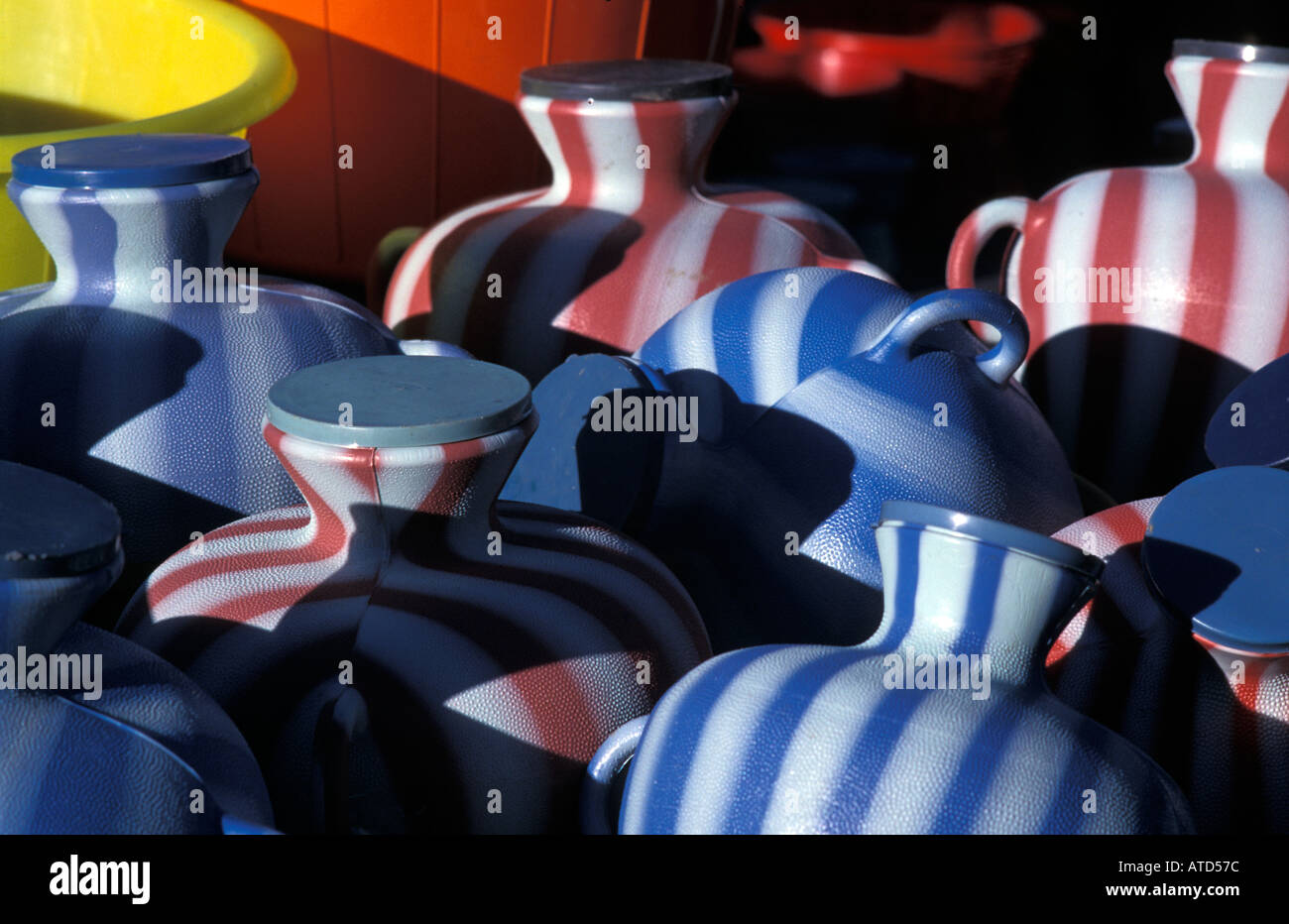 Selection of modern water jugs for sale at market San Martin Jilotepeque Sacatepequez Guatemala - Stock Image