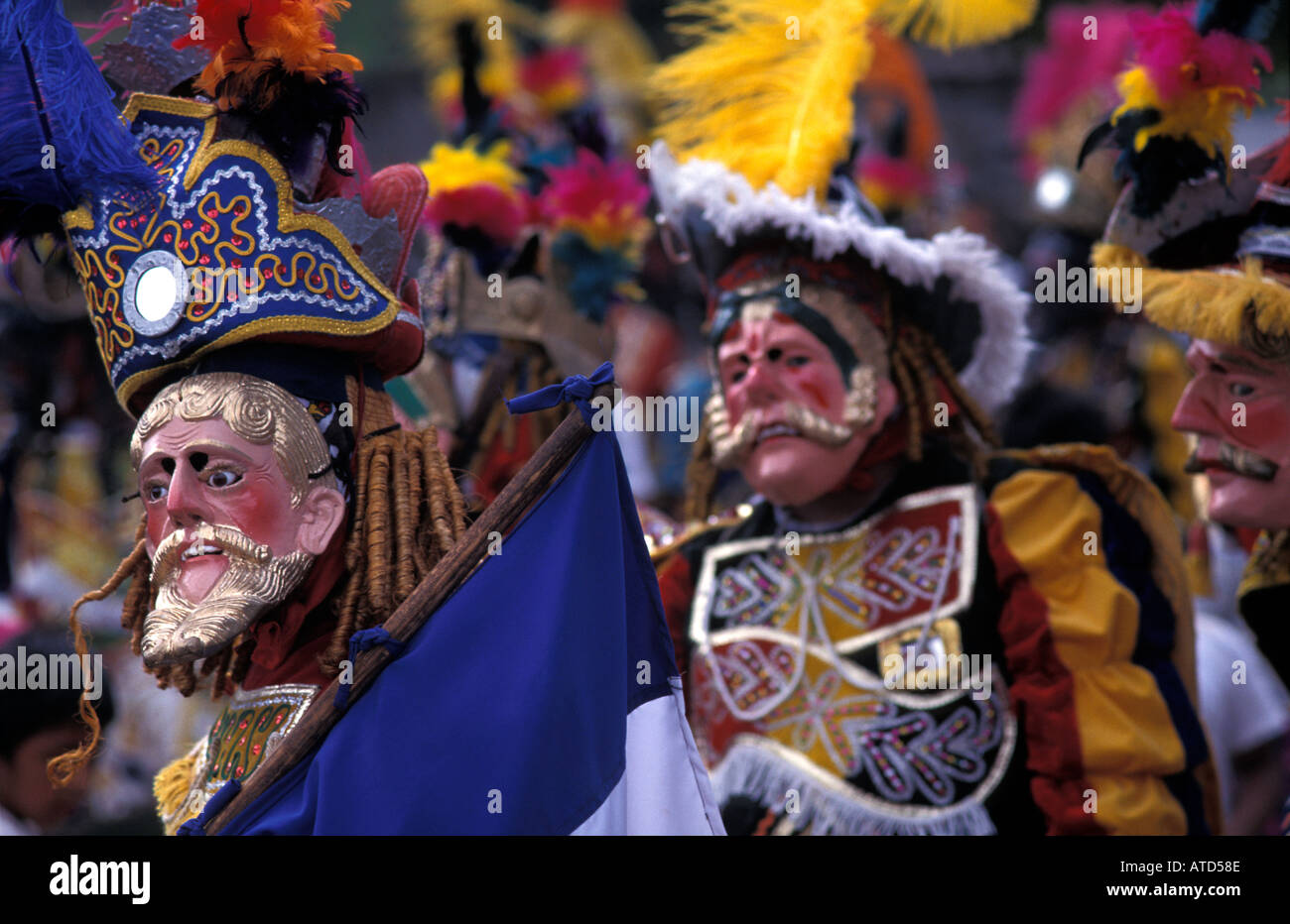 Masked dancer performing the Dance of the Conquerors San Sebastian Retalhuleu Guatemala - Stock Image