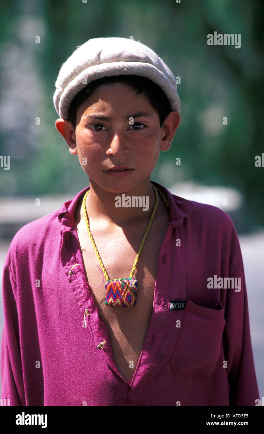 Portrait of a Pakistani boy North West Frontier Province Chittral Pakistan Stock Photo