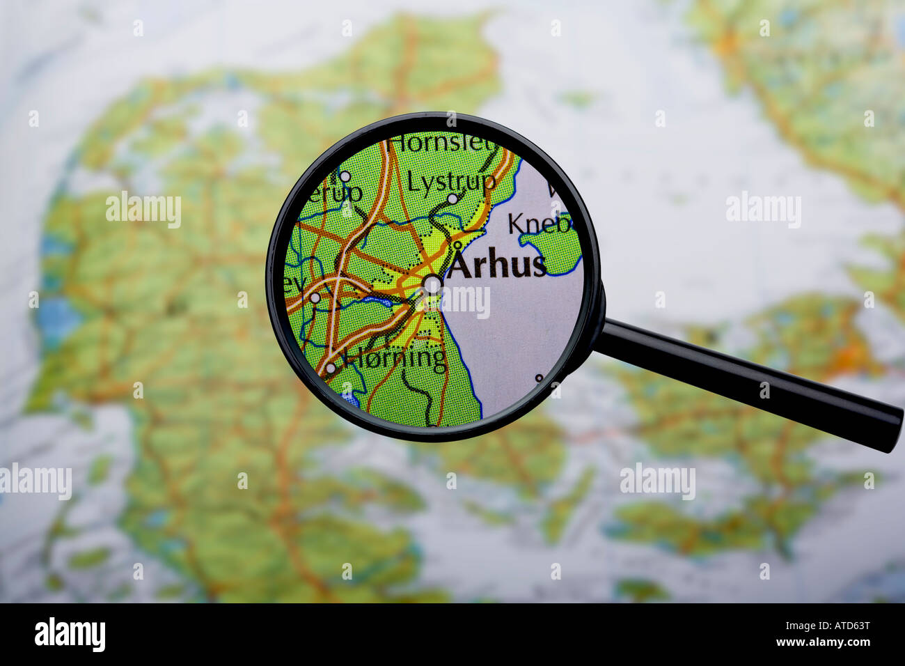 Map of Denmark with Aarhus enlarged - Stock Image