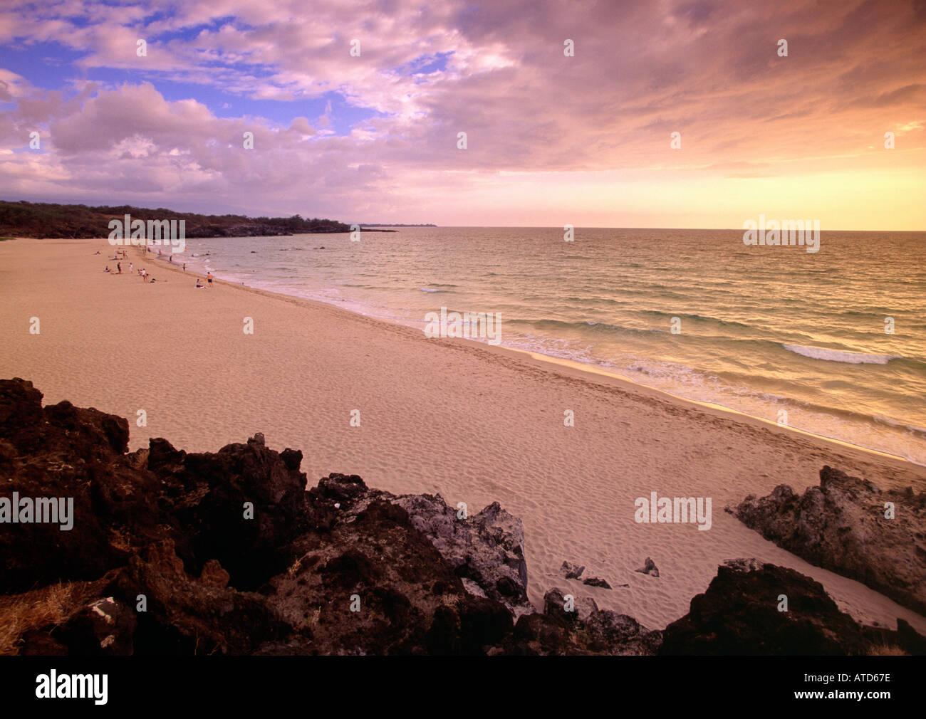 A Golden Sun Sets Over Hapuna Beach State Park Kona Coast