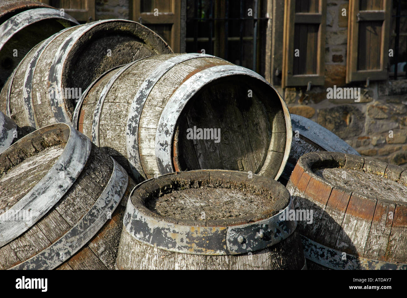 Old beer kegs on a cart in front of the brewery, Westphalian Open-Air Museum Hagen, Road of Industry Culture - Stock Image