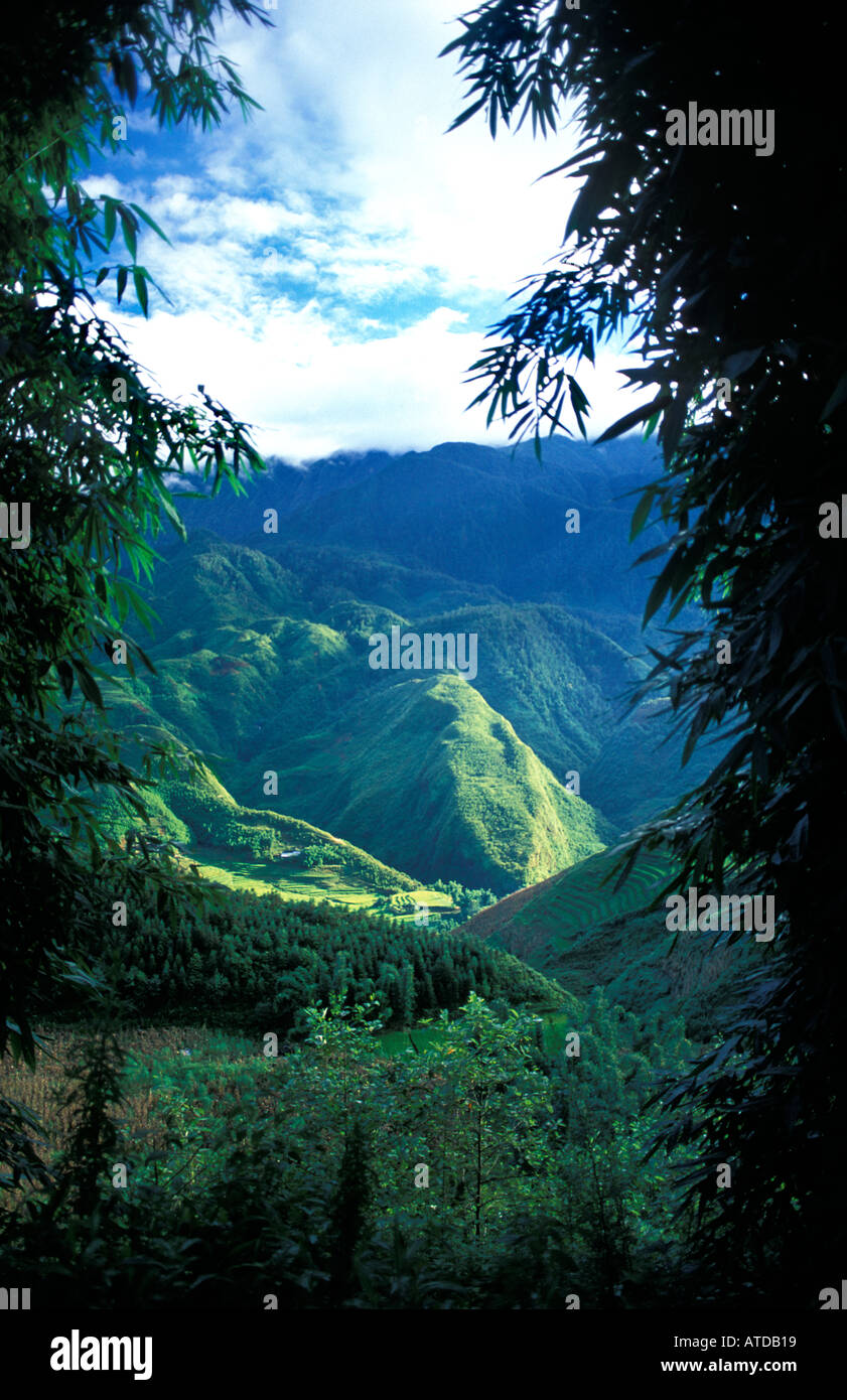 Scenic view from the outskirts of Sapa Northern Vietnam - Stock Image