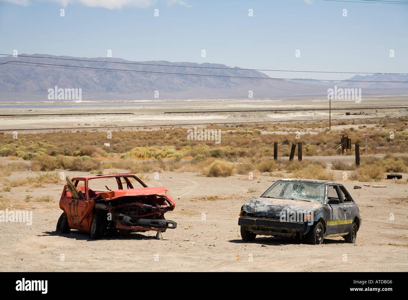 Junk car in the desert near Trona, Mojave desert, California, USA ...