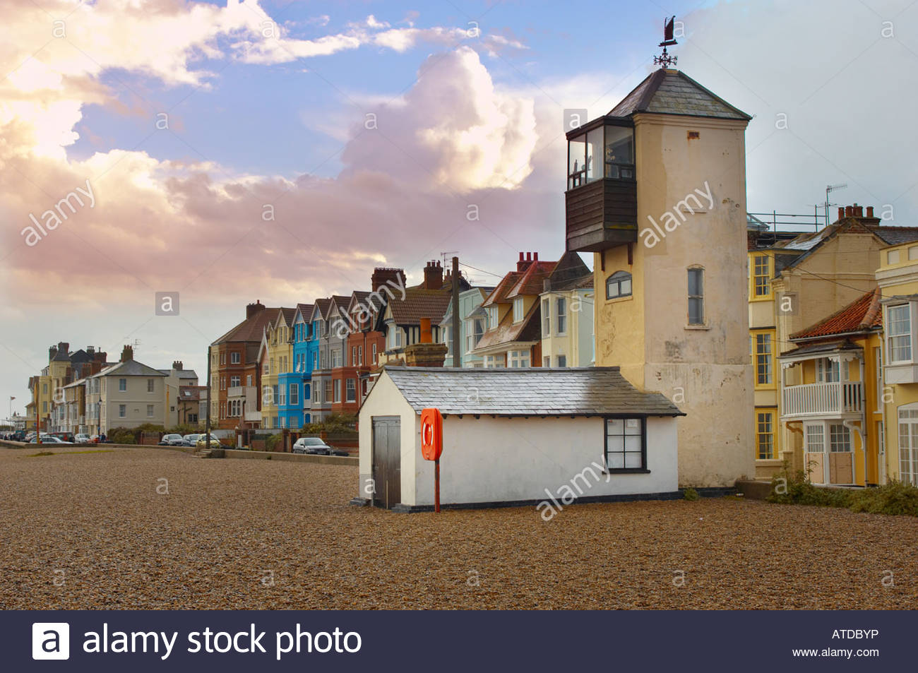 Aldeburgh houses and fisherman's lookout tower on the sea front. Suffolk England - Stock Image