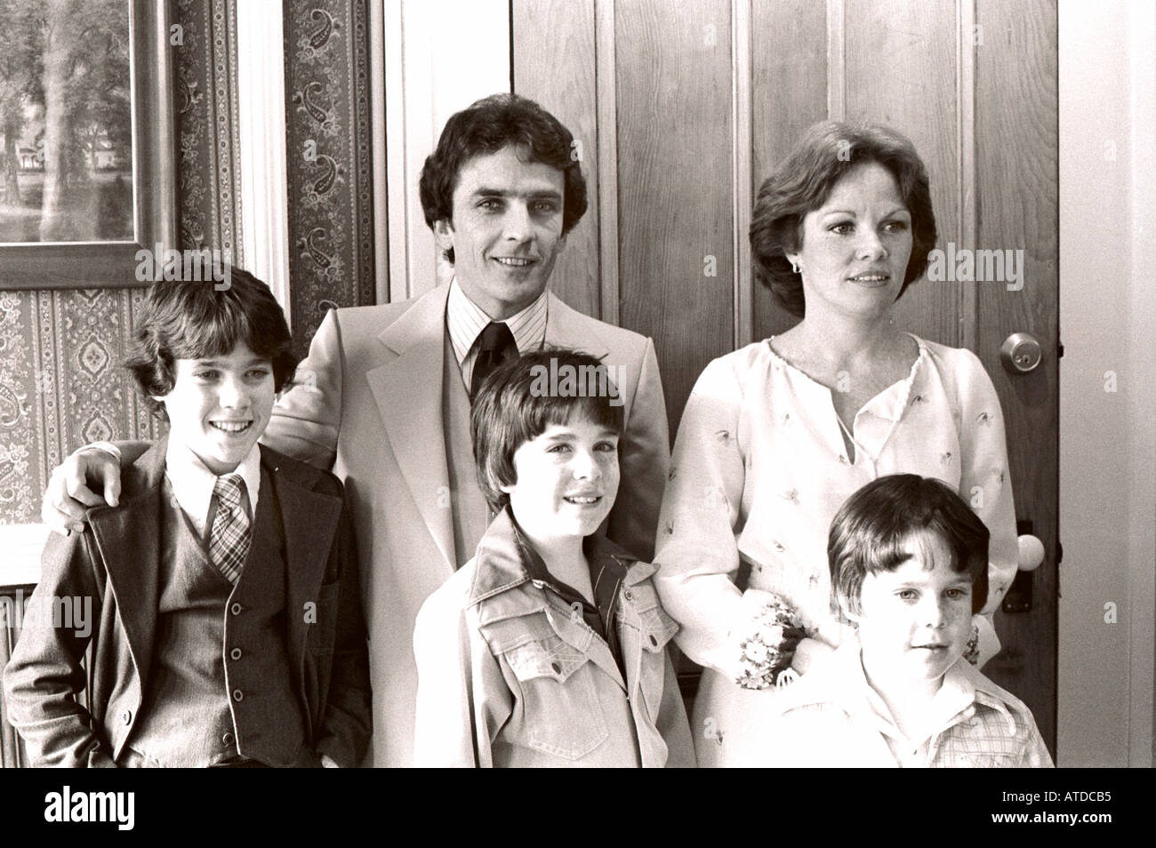 USA 1970's Young American Family Portrait at Wedding Celebration 'Black and White' 'irish origin' Parents Children - Stock Image