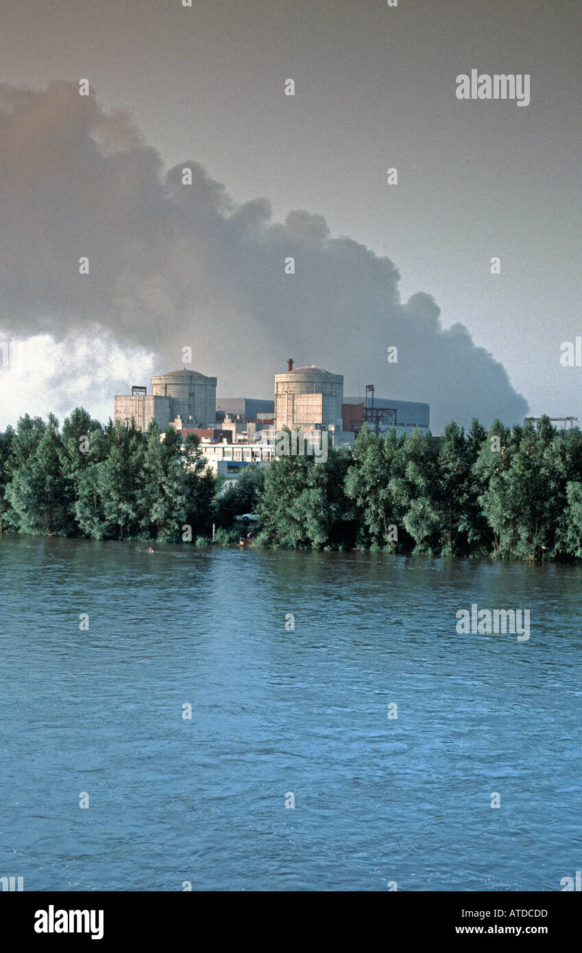 """Energy Nuclear Power Plant in Loire Valley, Chinon France, on Loire River """"EDF Electricity"""" Stock Photo"""