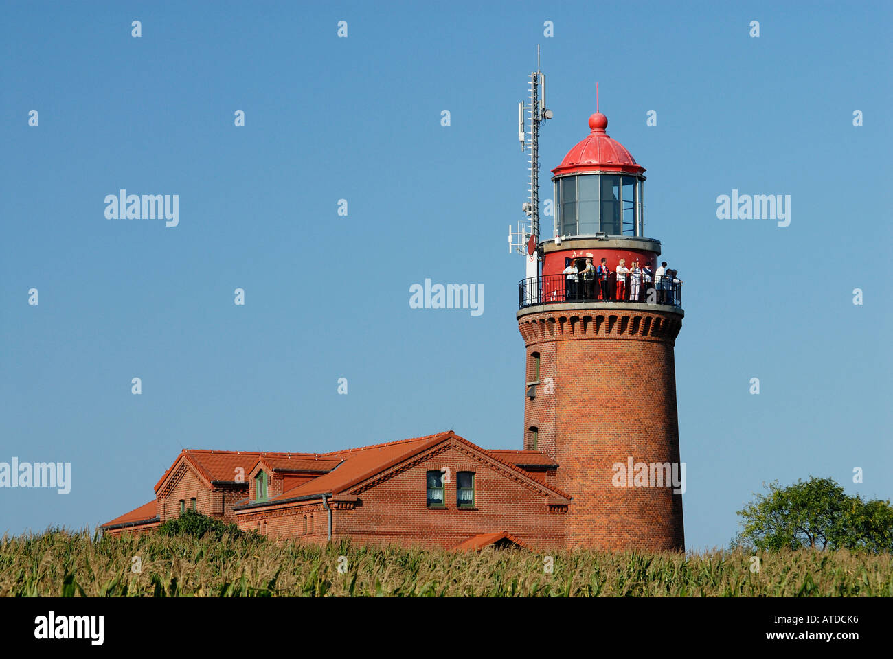 Tourists enjoying the view from the old lighthouse in Bastorf near Kuehlungsborn, Western-Pomerania, Germany Stock Photo