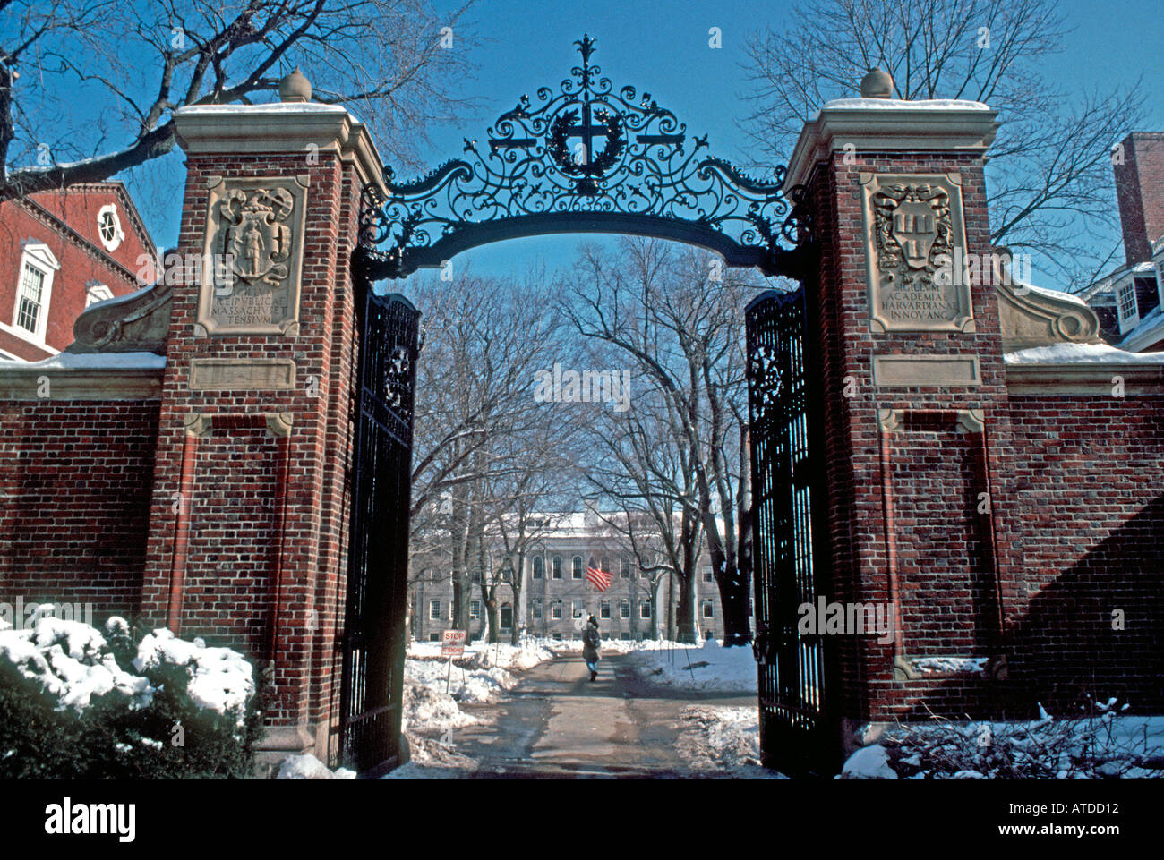Boston MA USA Harvard University Campus Entrance Winter Doorway Detail Higher Education