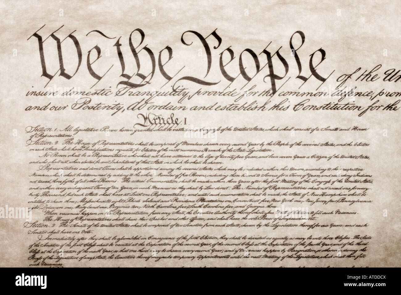 WE The People The US Constitution Document Stock Photo