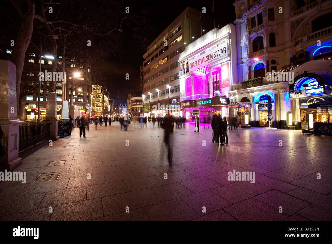 Leicester Square, London at night - Stock Image