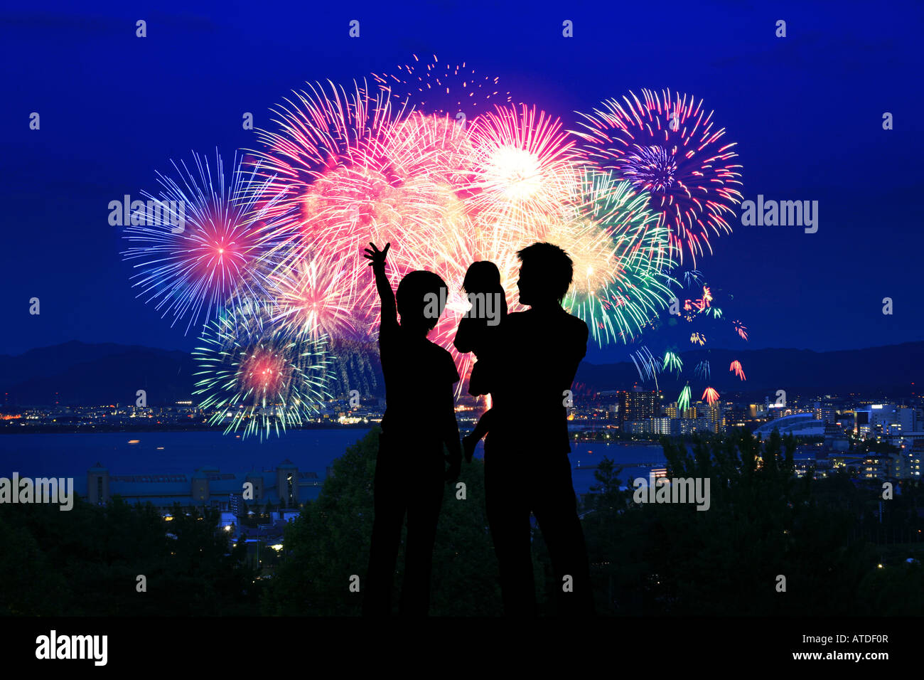 silhouette of family watching firework display stock photo: 16284022
