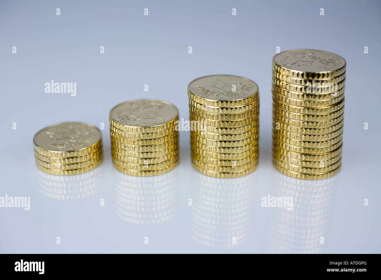 Pile with euro coins - Stock Image