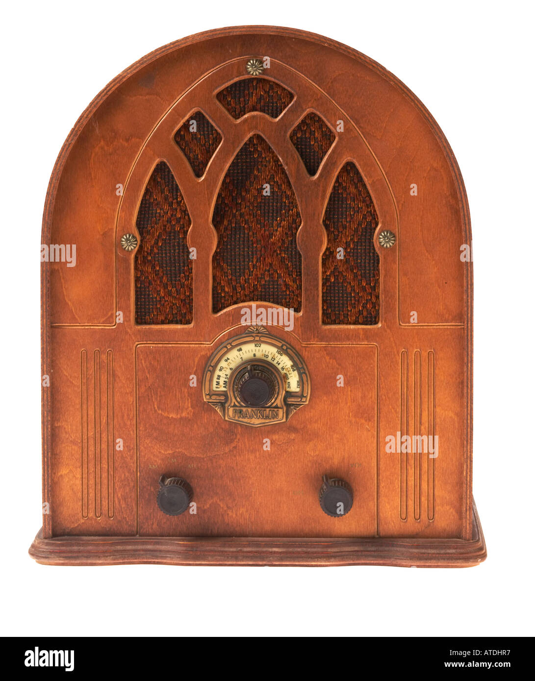 Reproduction of 1930s style wooden radio - Stock Image