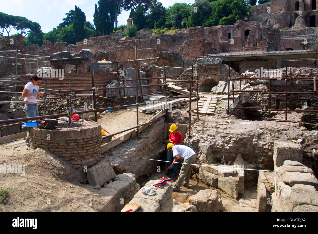 Archaeolic excavation Roman ruins Rome Italy Stock Photo