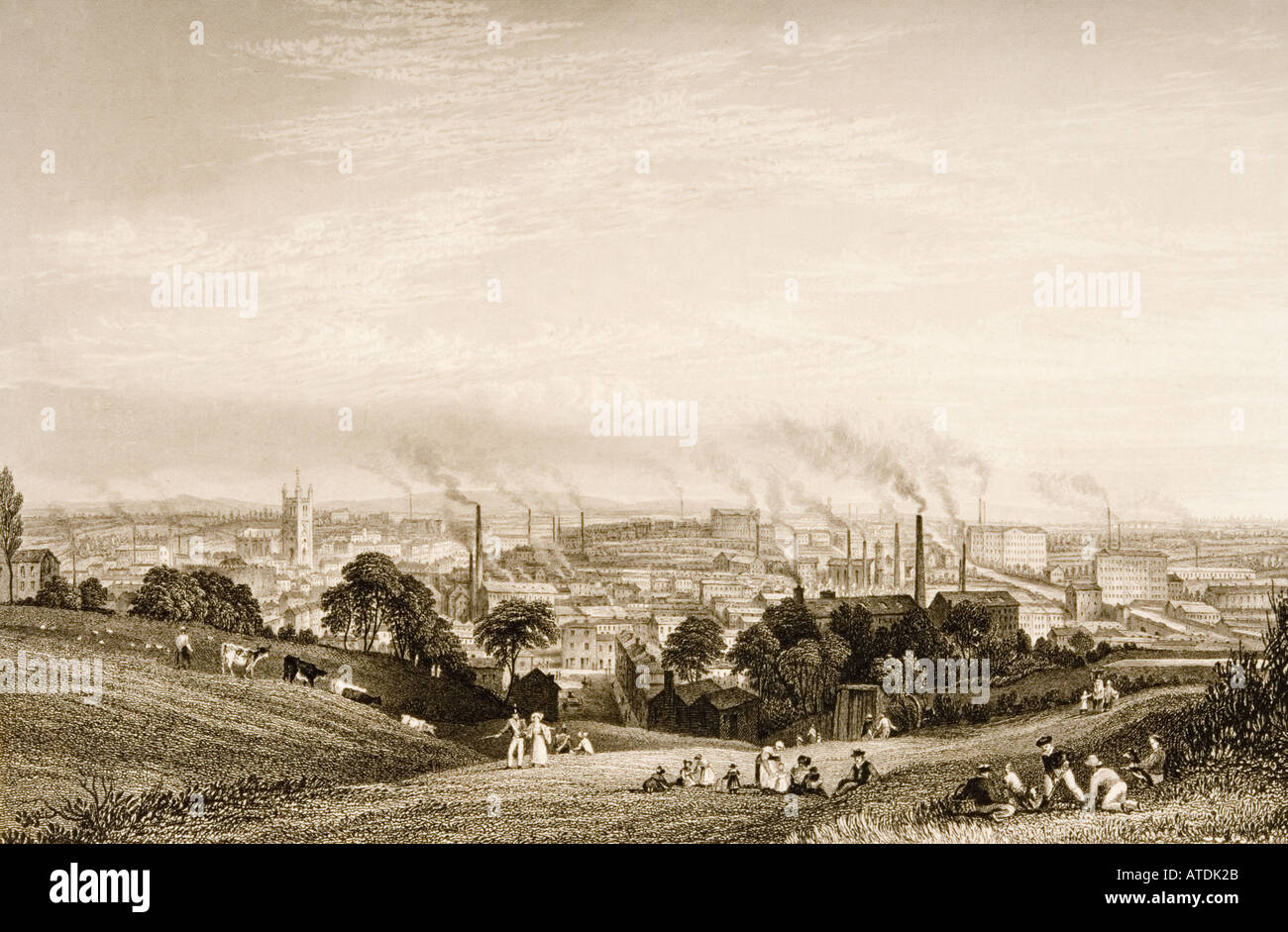 General view of Stockport, Lancashire, England in the 1830's showing cotton mills. Stock Photo