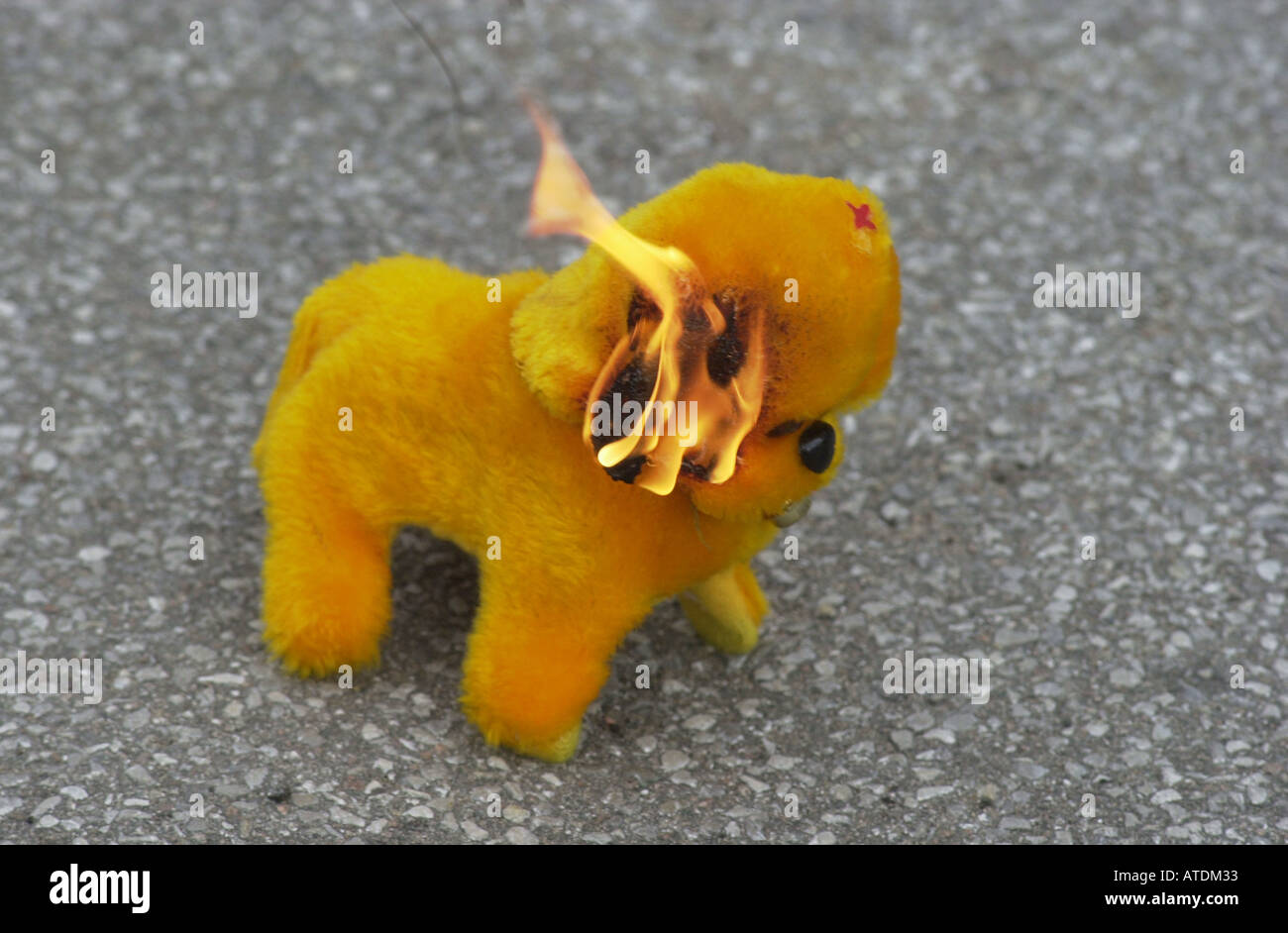 Dangerous flamable toy sold in the street at Christmas UK - Stock Image
