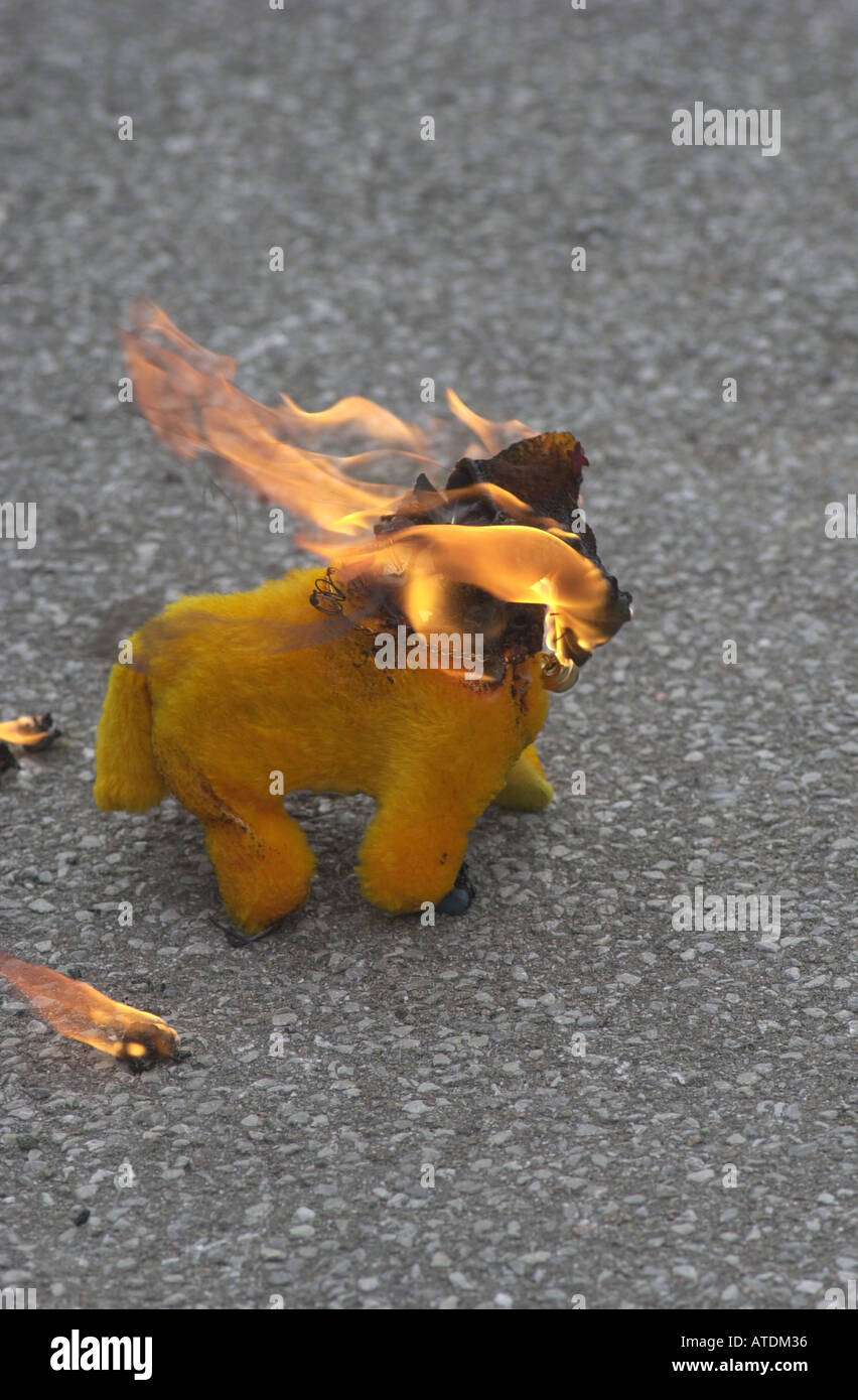 Dangerous flammable toy sold in the street at Christmas UK - Stock Image