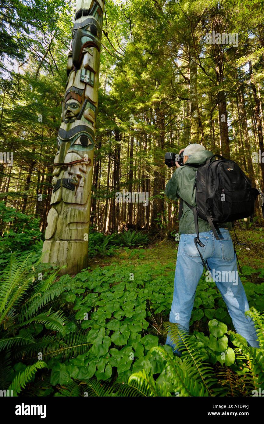 Totem poles Prince of Wales Island Inside Passage Alaska - Stock Image