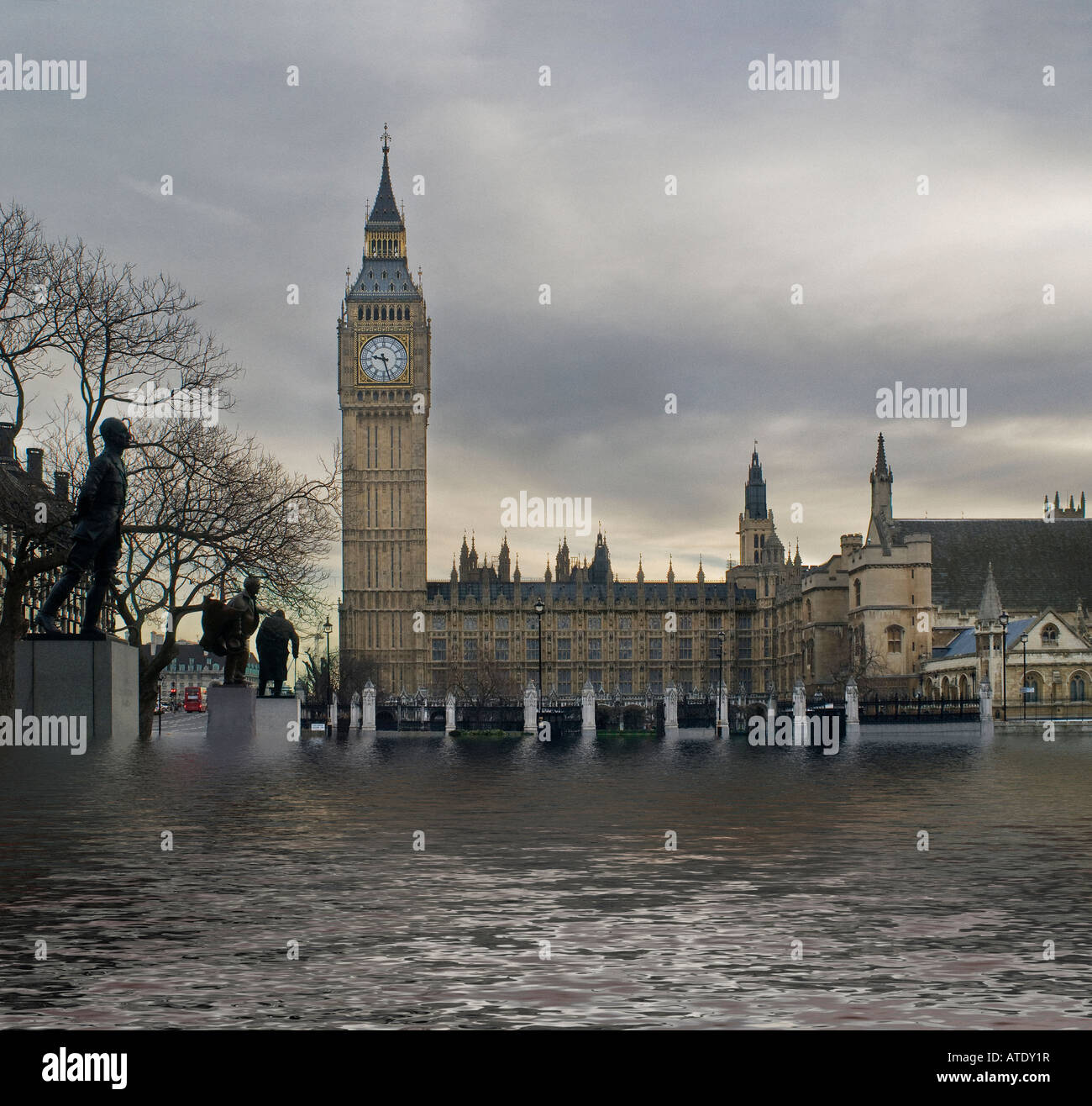 The House of Parliament and Parliament square flooded and underwater - Stock Image