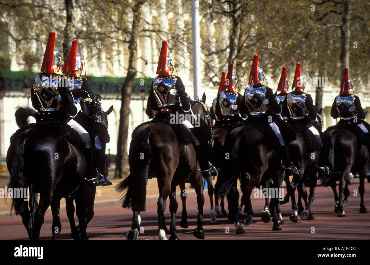 A squadron of Household Cavalry Blues and Royals The Mall London England UK - Stock Image