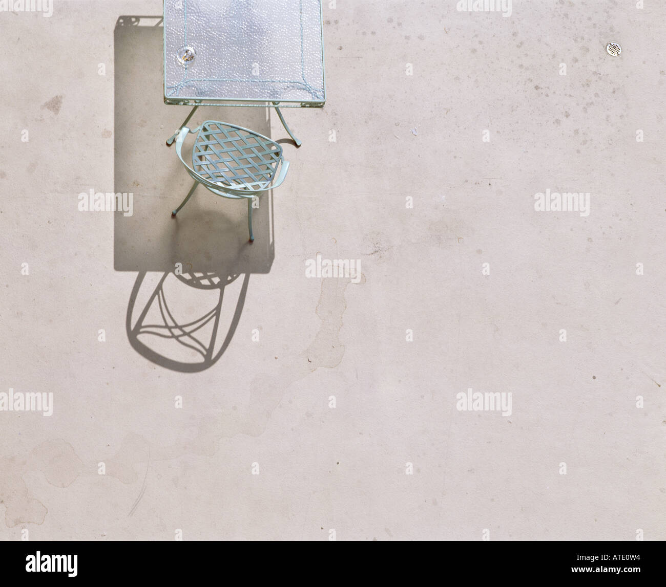 Chair, floor, aerial, summer, light, table, glass, - Stock Image
