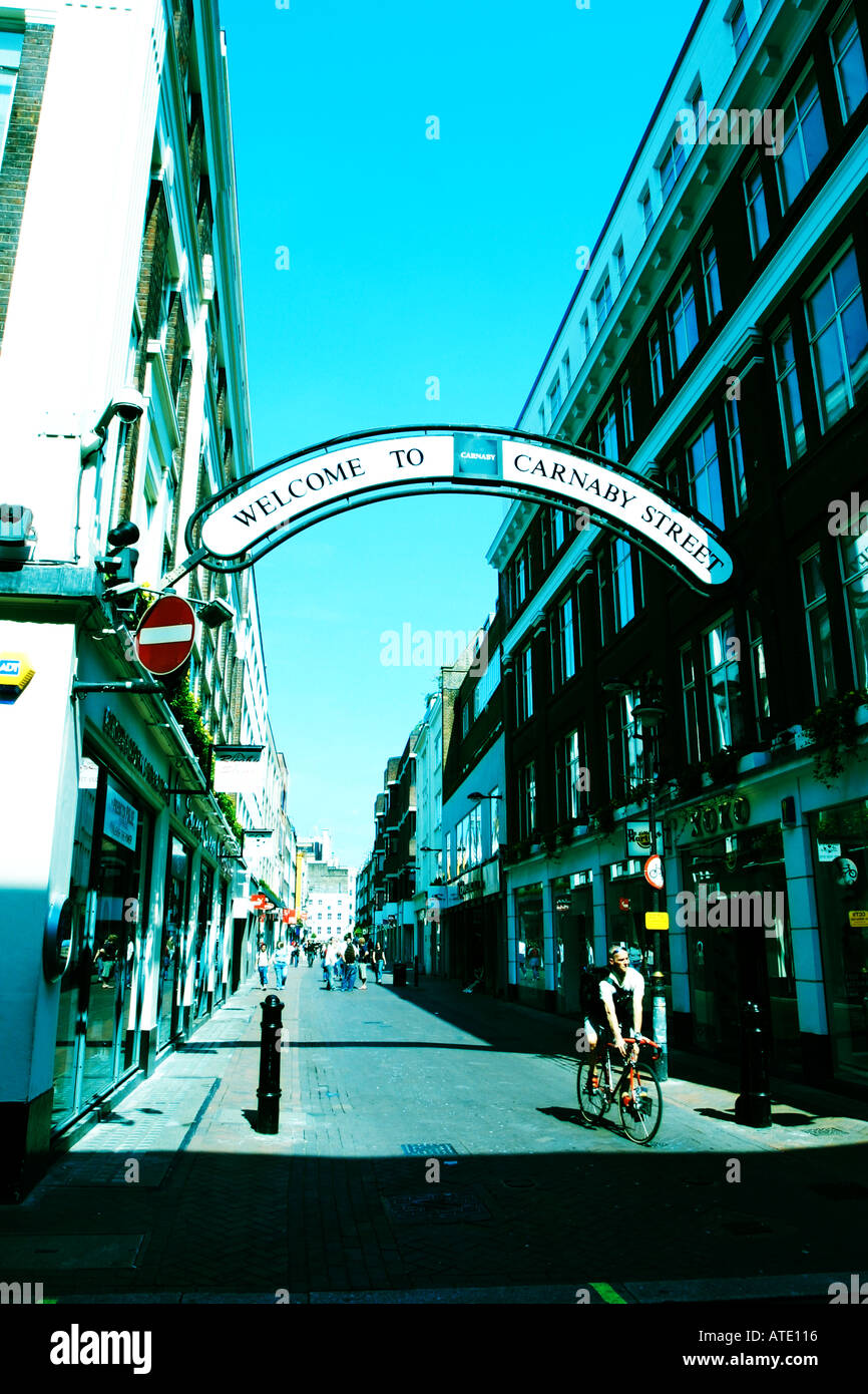The arch over the entrance to Carnaby Street in London - Stock Image