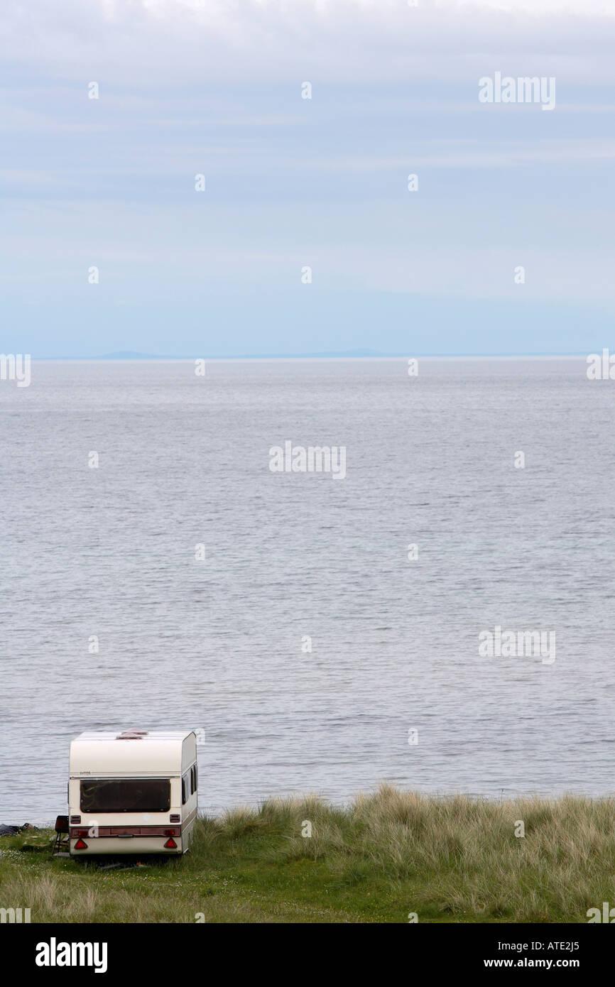 Caravan alone on holiday - Stock Image