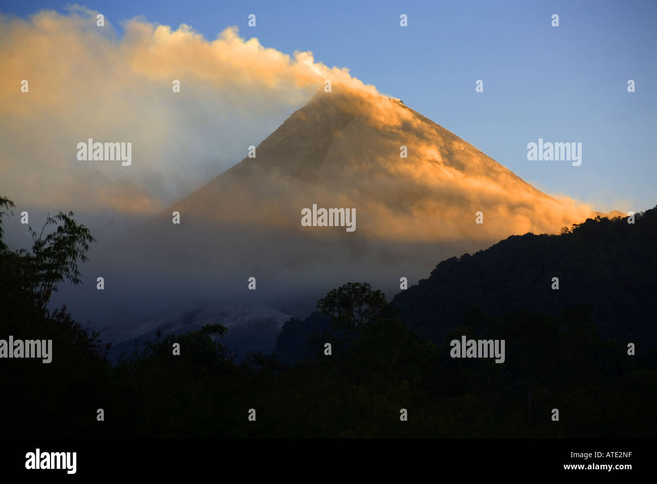 Mt. Merapi, Central Java, Indonesia emitting smoke and ash - Stock Image
