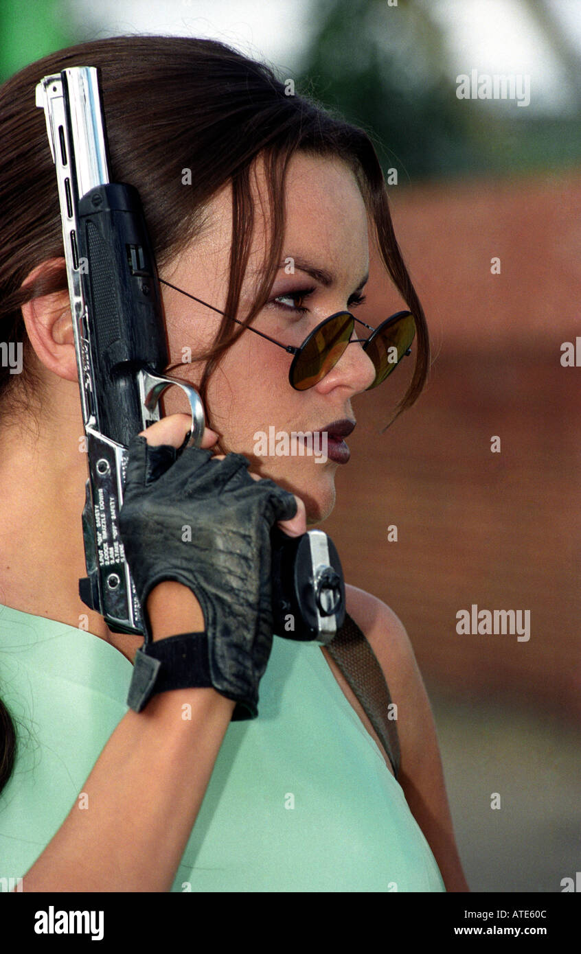 Model Lara Weller the human embodiment of cyberbabe Lara Croft at the unveiling of UKs first  computer games piracy initiative - Stock Image