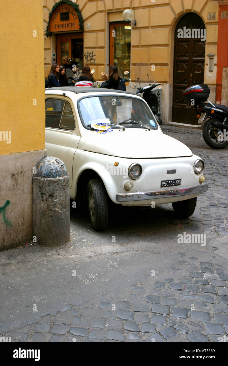 White Fiat 500 parked in a street in Rome Italy alamyprorank - Stock Image