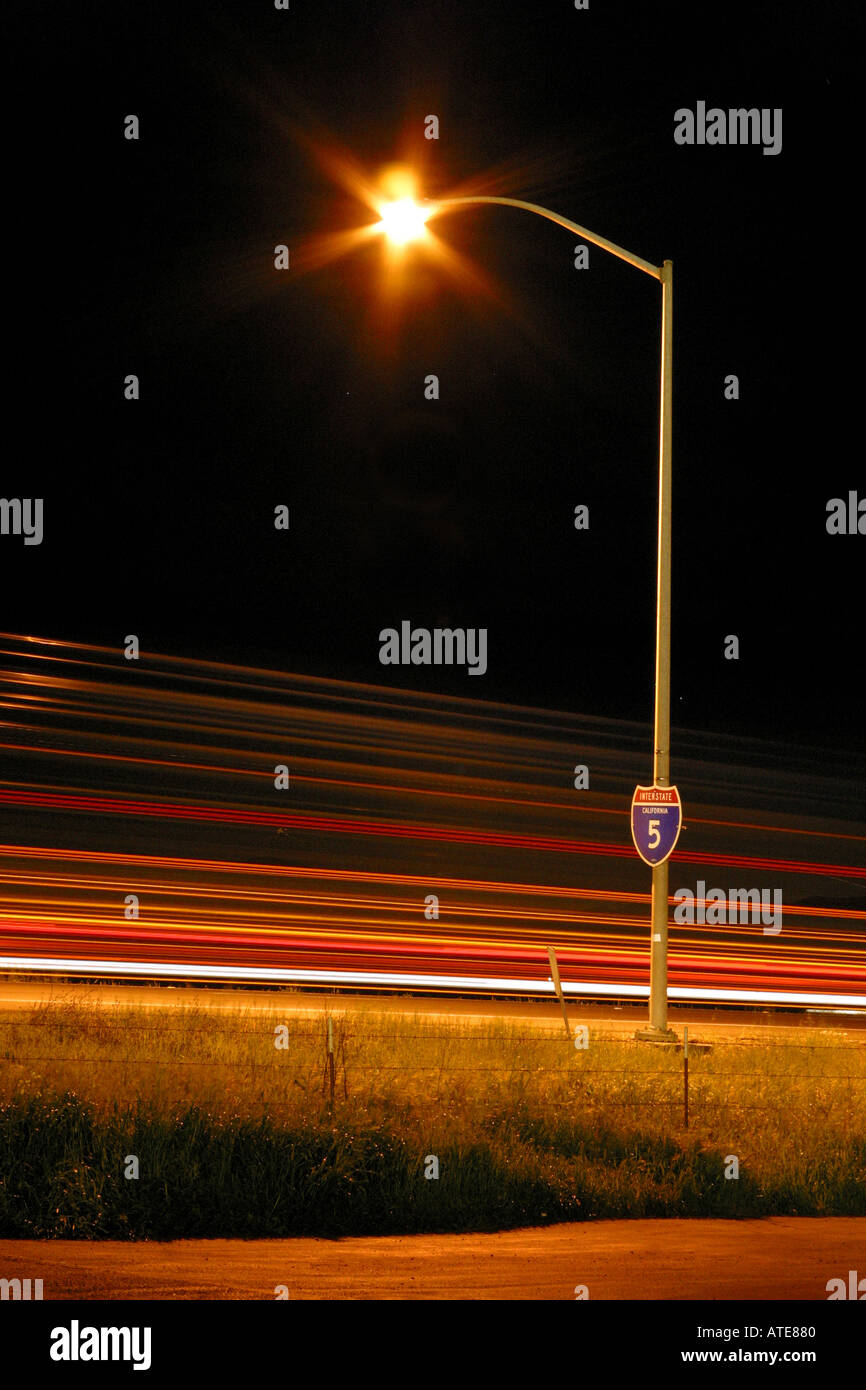 Streetlight next to Interstate 5 in California - Stock Image