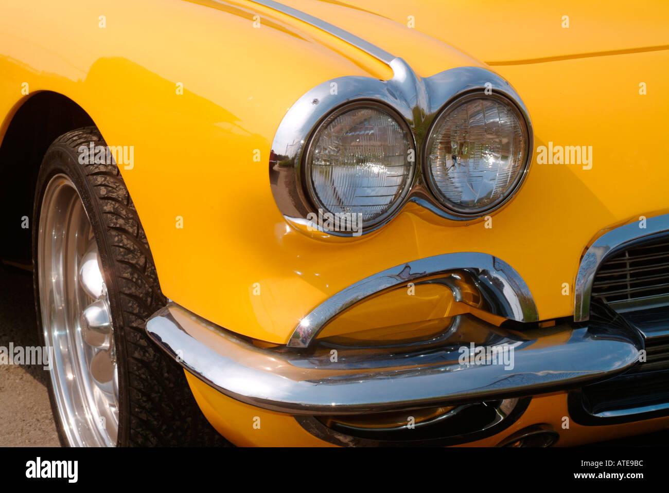 detail of an antique 1960 Corvette sportscar - Stock Image