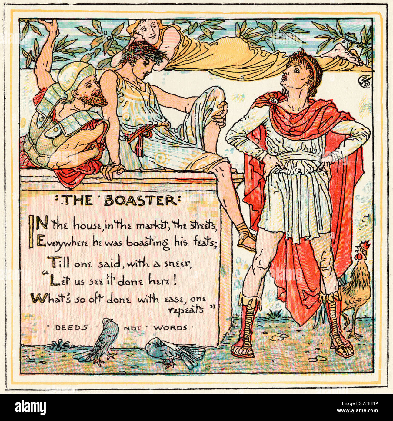 The Boaster From the book The Babys Own Aesop by Walter Crane published c1920 - Stock Image