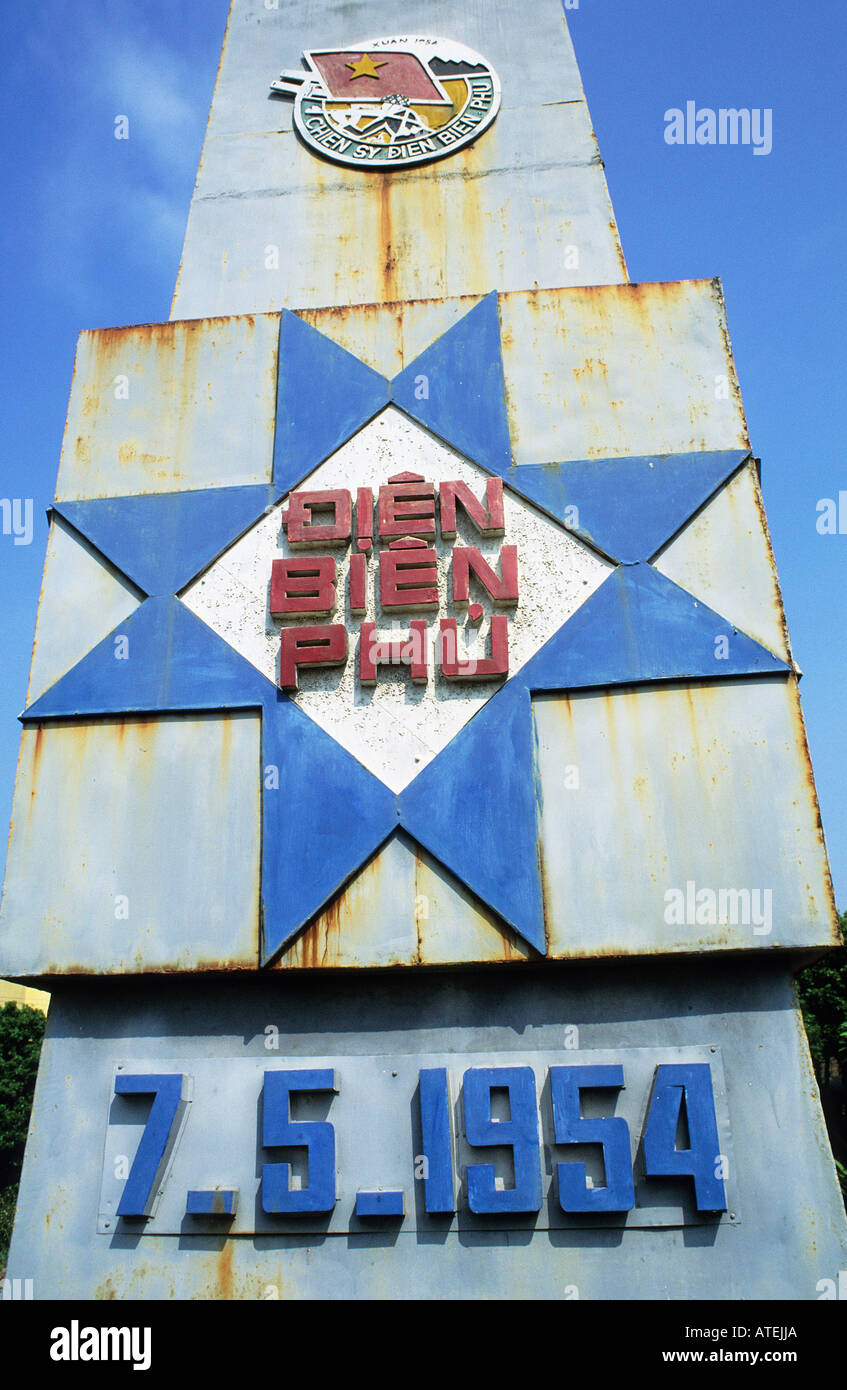 The rusty war memorial that pays tribute to the victory over the French Imperialist forces at Dien Bien Phu in 1954 Stock Photo