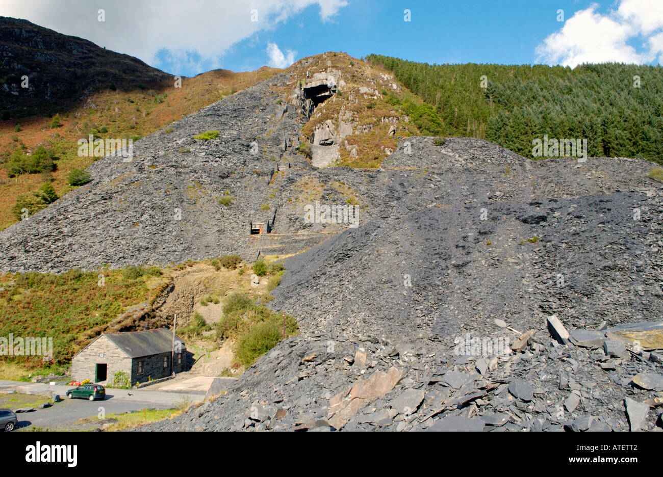 Aberllefenni Slate Quarry worked continuously from 16th century until it closed in 2003 near Corris Gwynedd Wales Stock Photo