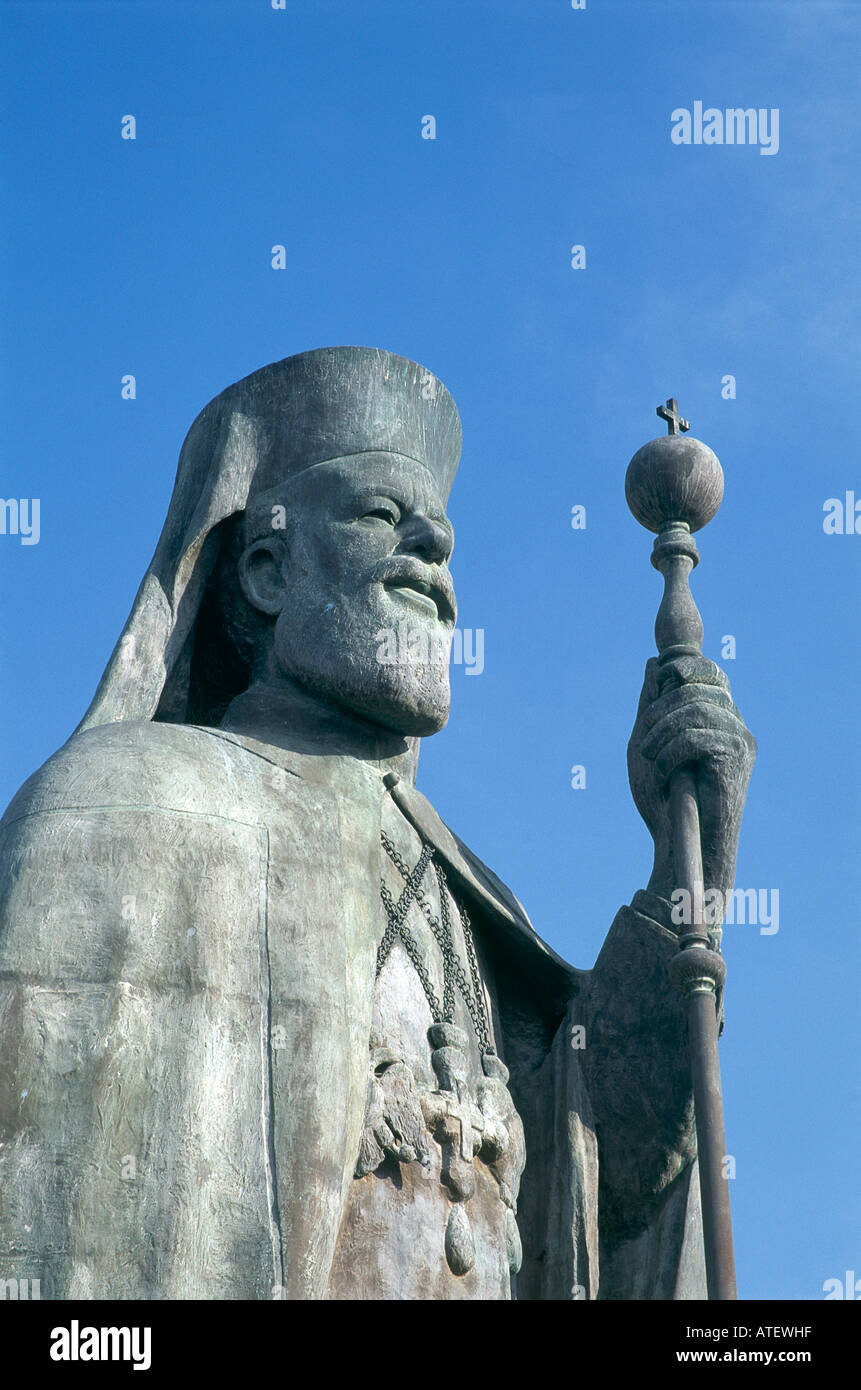 The statue of Archbishop Makarios outside the Bishopric South Nicosia - Stock Image