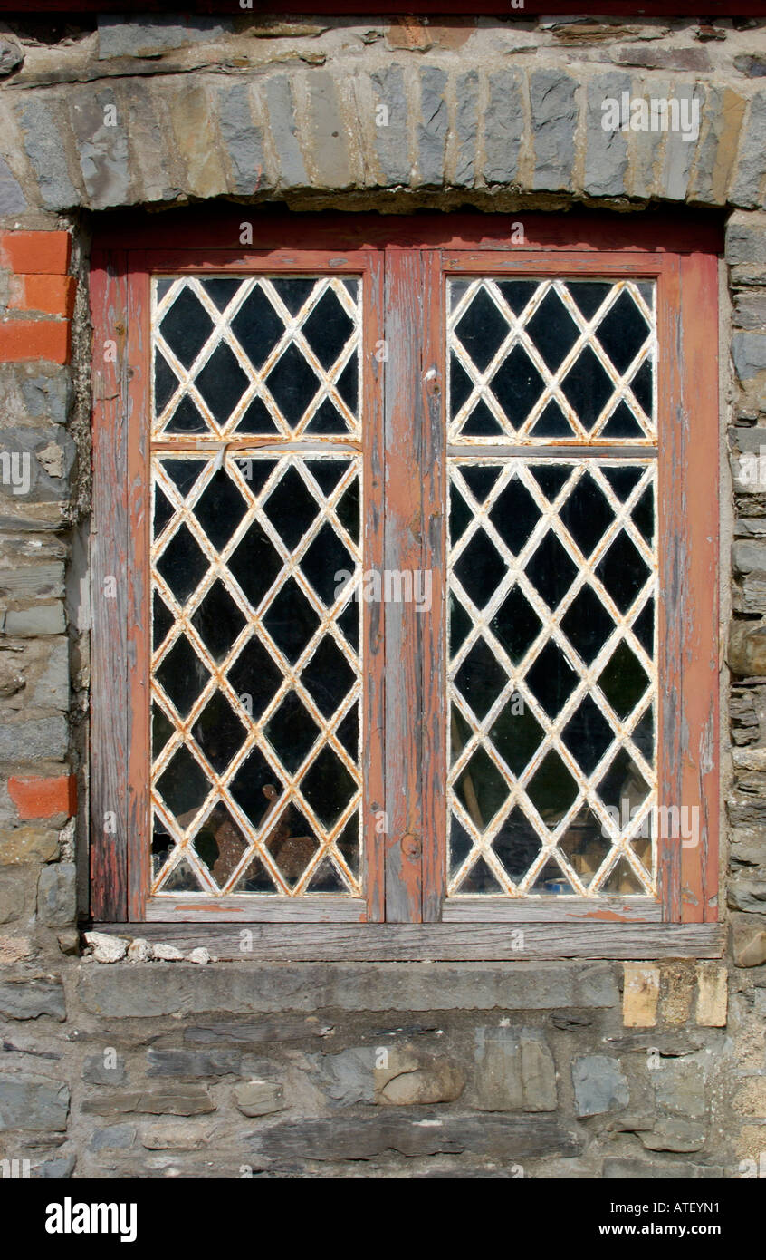 lattice window of old house in rural village of pumpsaint stock