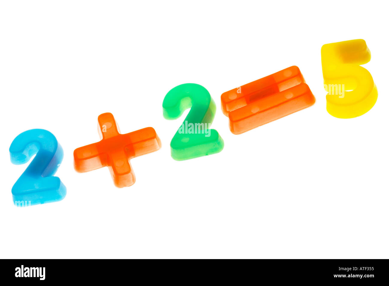 Plastic numbers two plus two equals five 2 2 5 Stock Photo