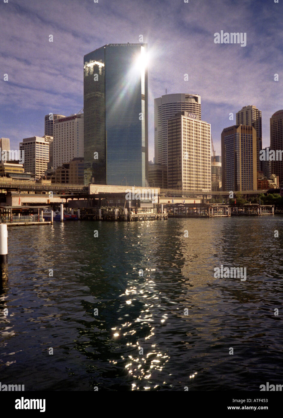Spectacular futuristic modern cityscape waterscape Sydney Sidney New South Wales Australia - Stock Image