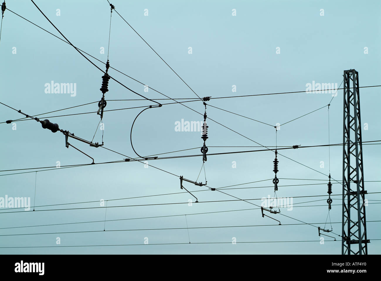 Power Lines for a Trains Over a Rail Network - Stock Image