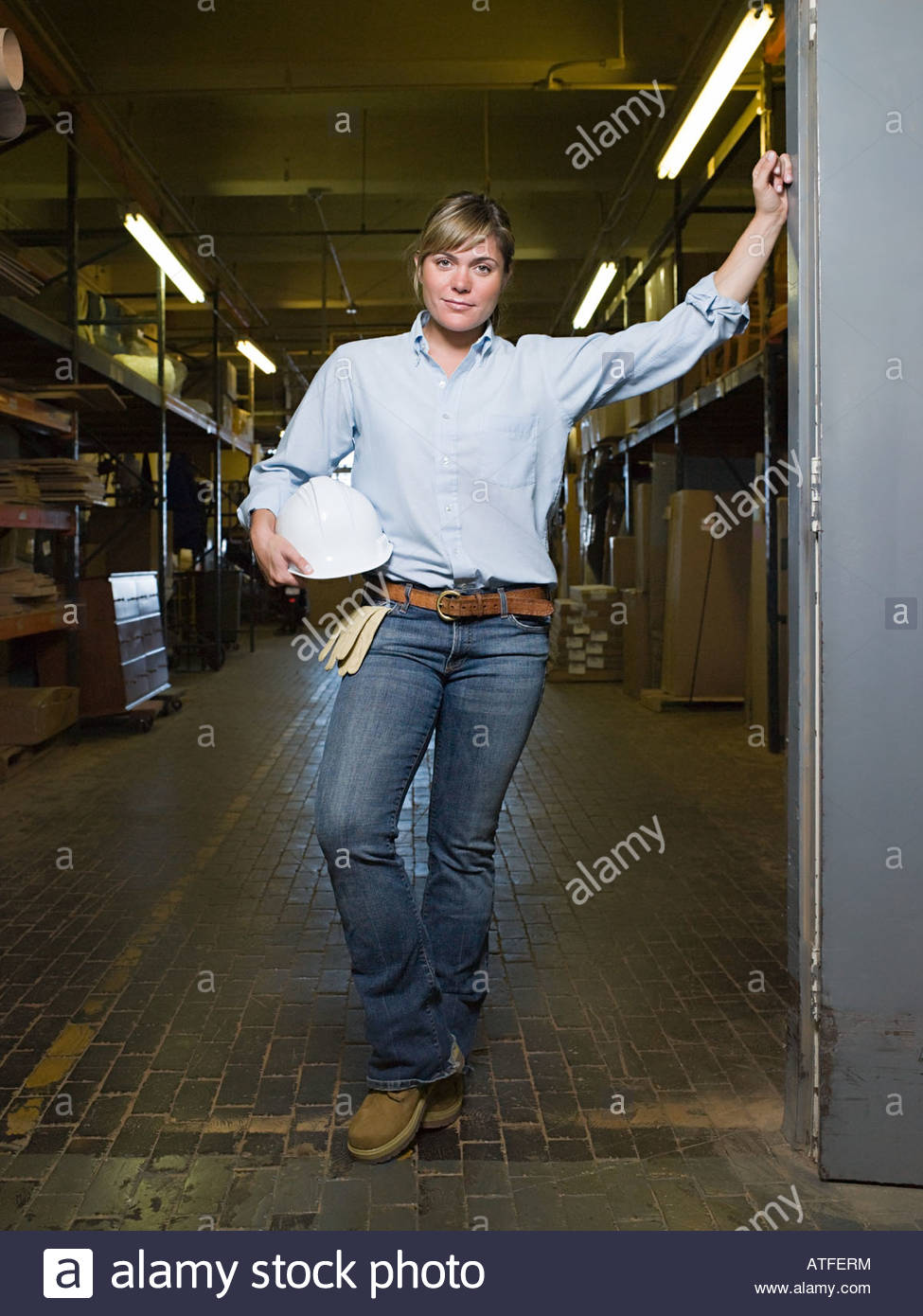 Female manual worker - Stock Image