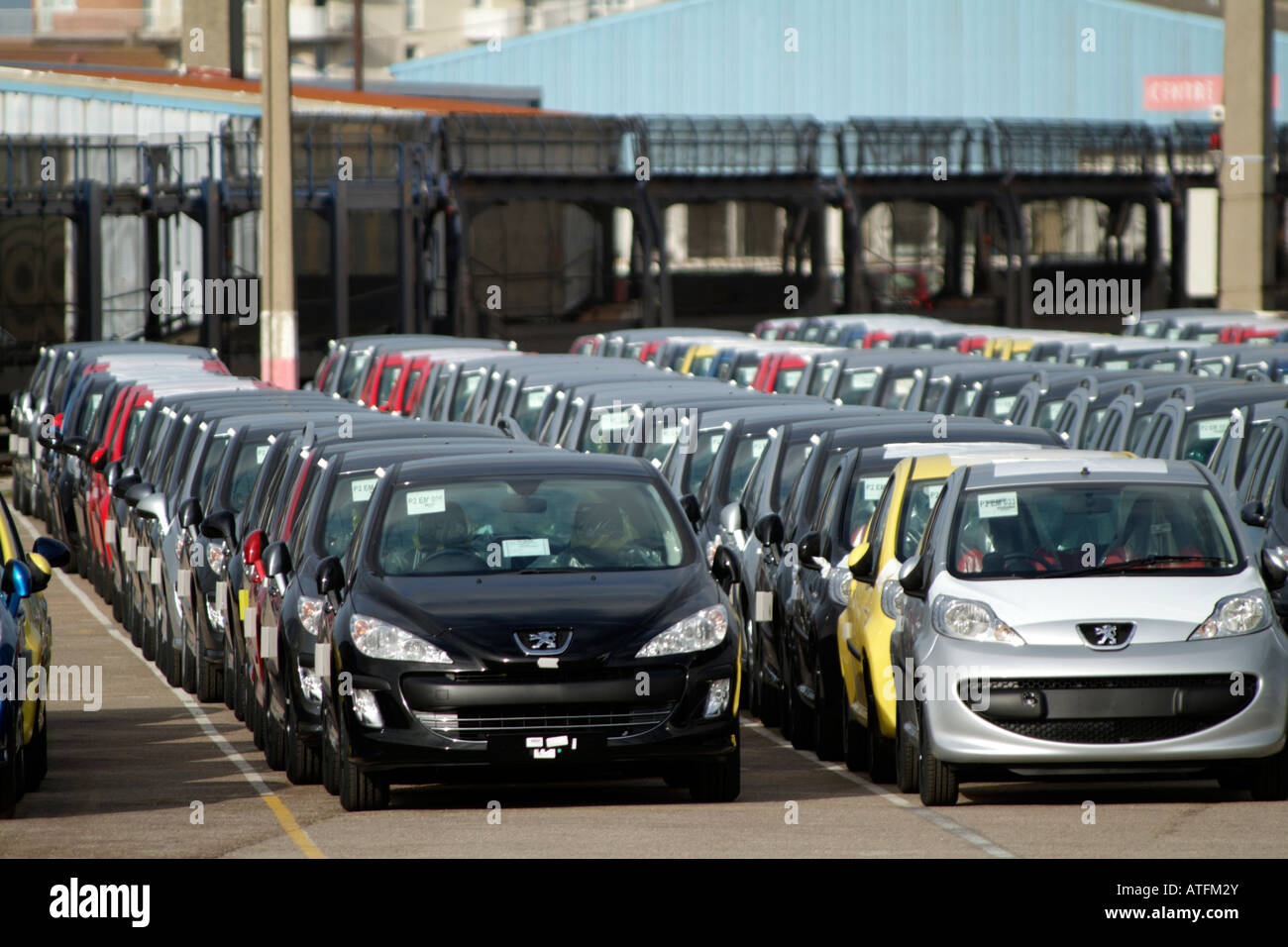 French Peugeot Cars Await Export from Calais Northern France Vehicle ...