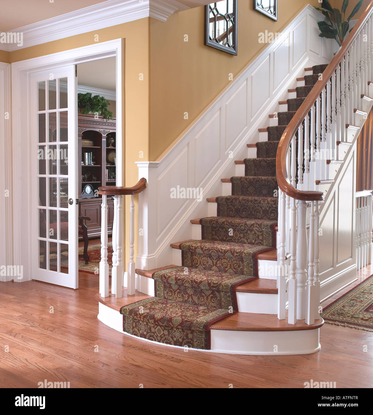 Staircase Stairs Steps Landing Living Room Usa Stock