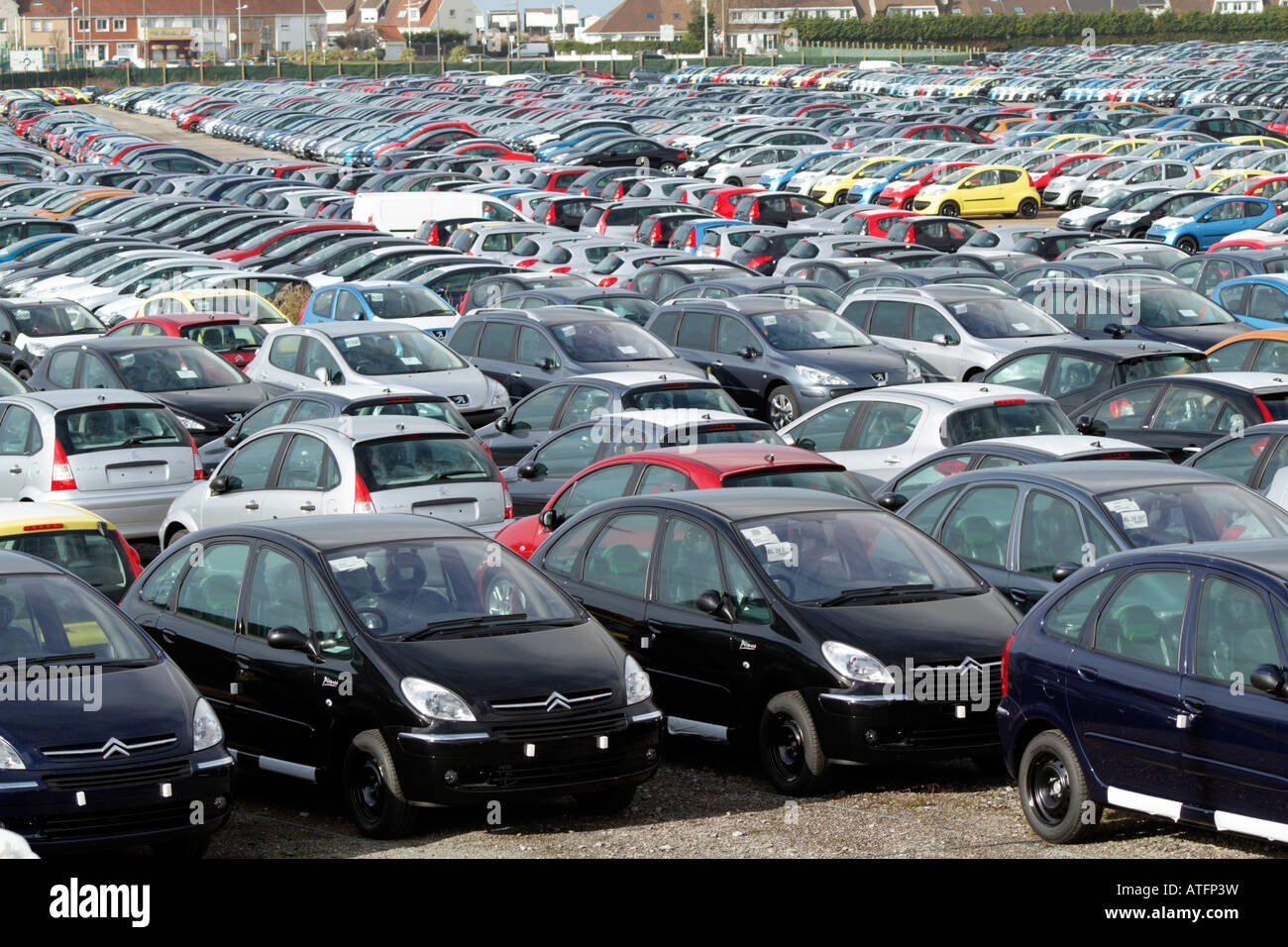 Citroen and Peugeot. French Cars await Export from Calais Northern ...
