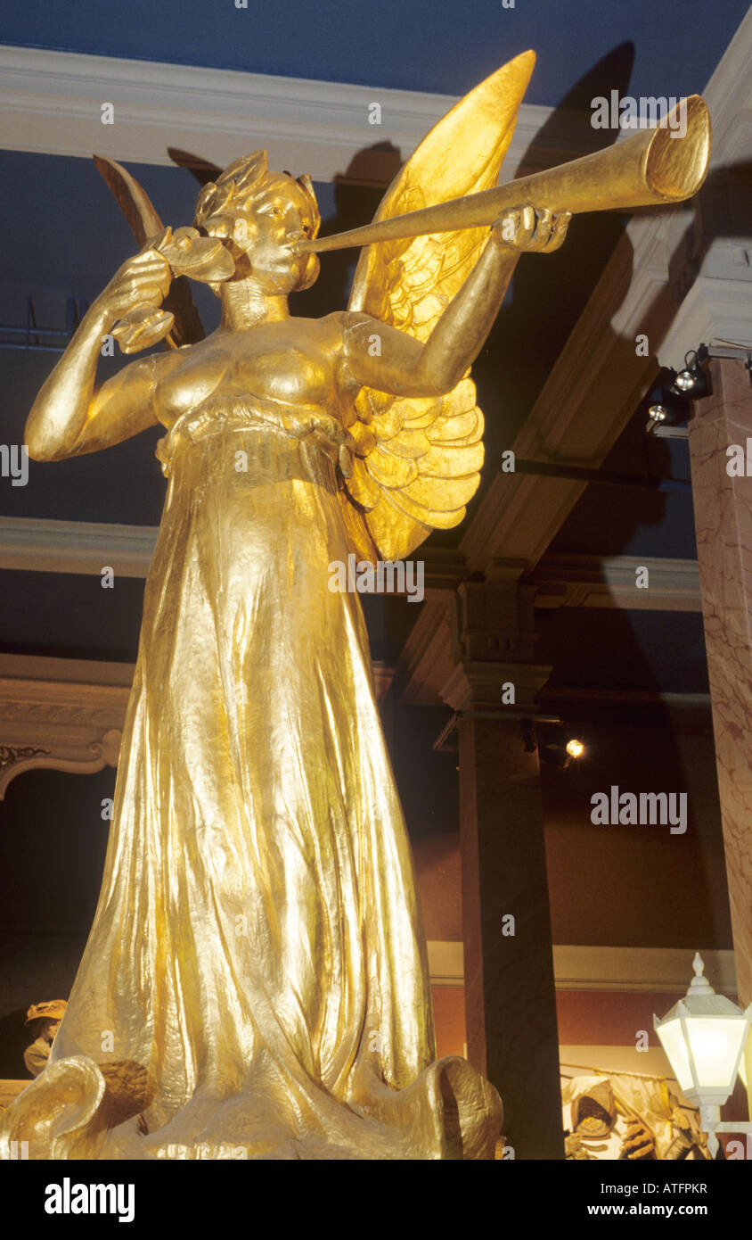 Theatre Museum Covent Garden London The Spirit of Gaiety from old Gaiety Theatre gilded gilt angel winged trumpet - Stock Image